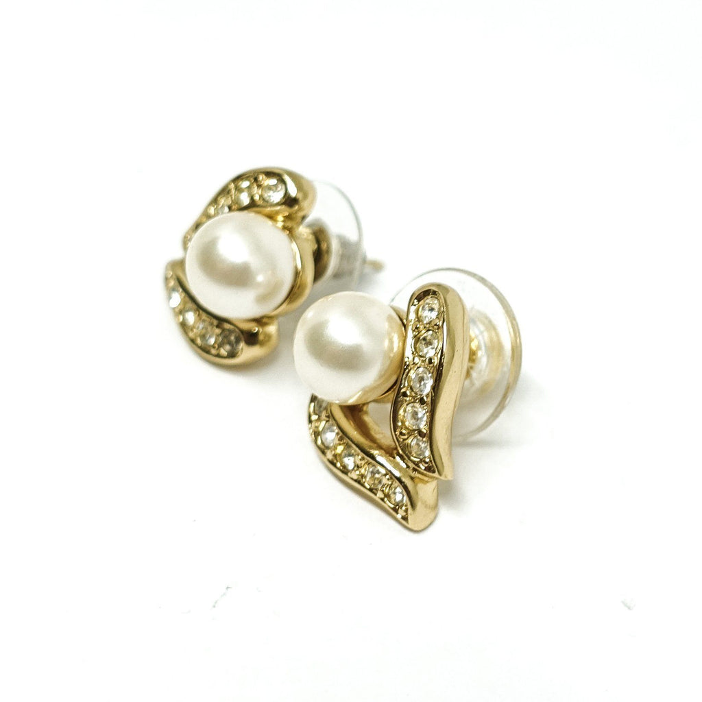 Christian Dior Pearl And Crystal Earrings - Earrings