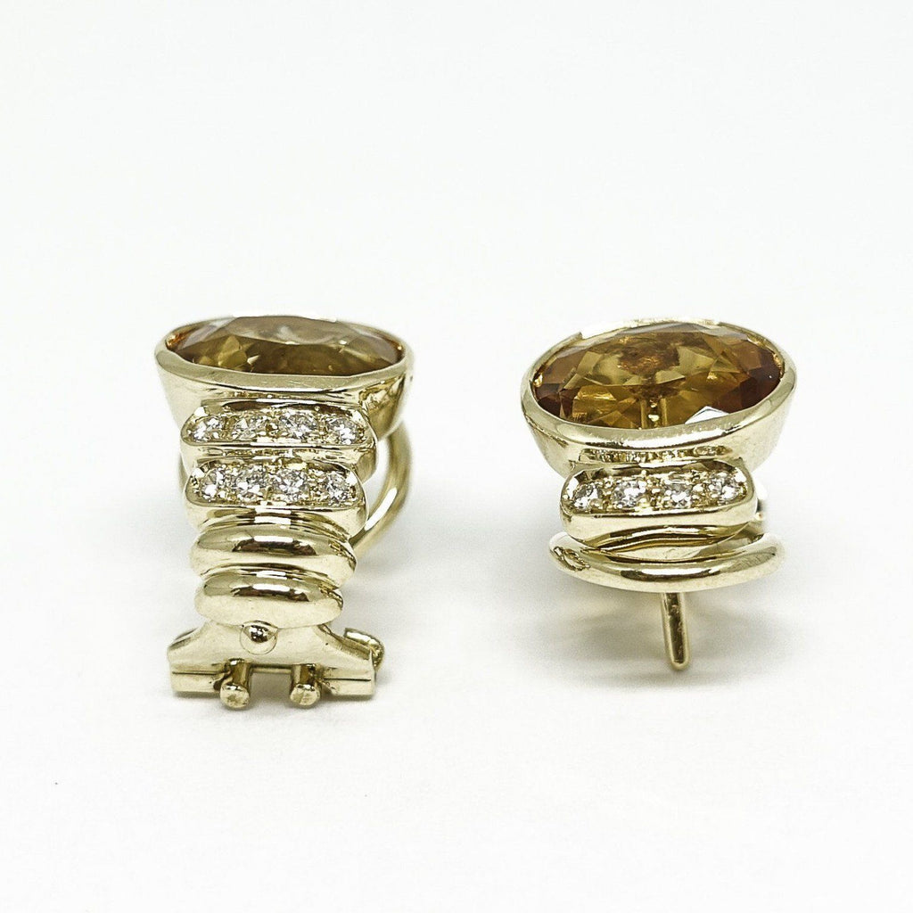Citrine And Diamond Earrings - Earrings