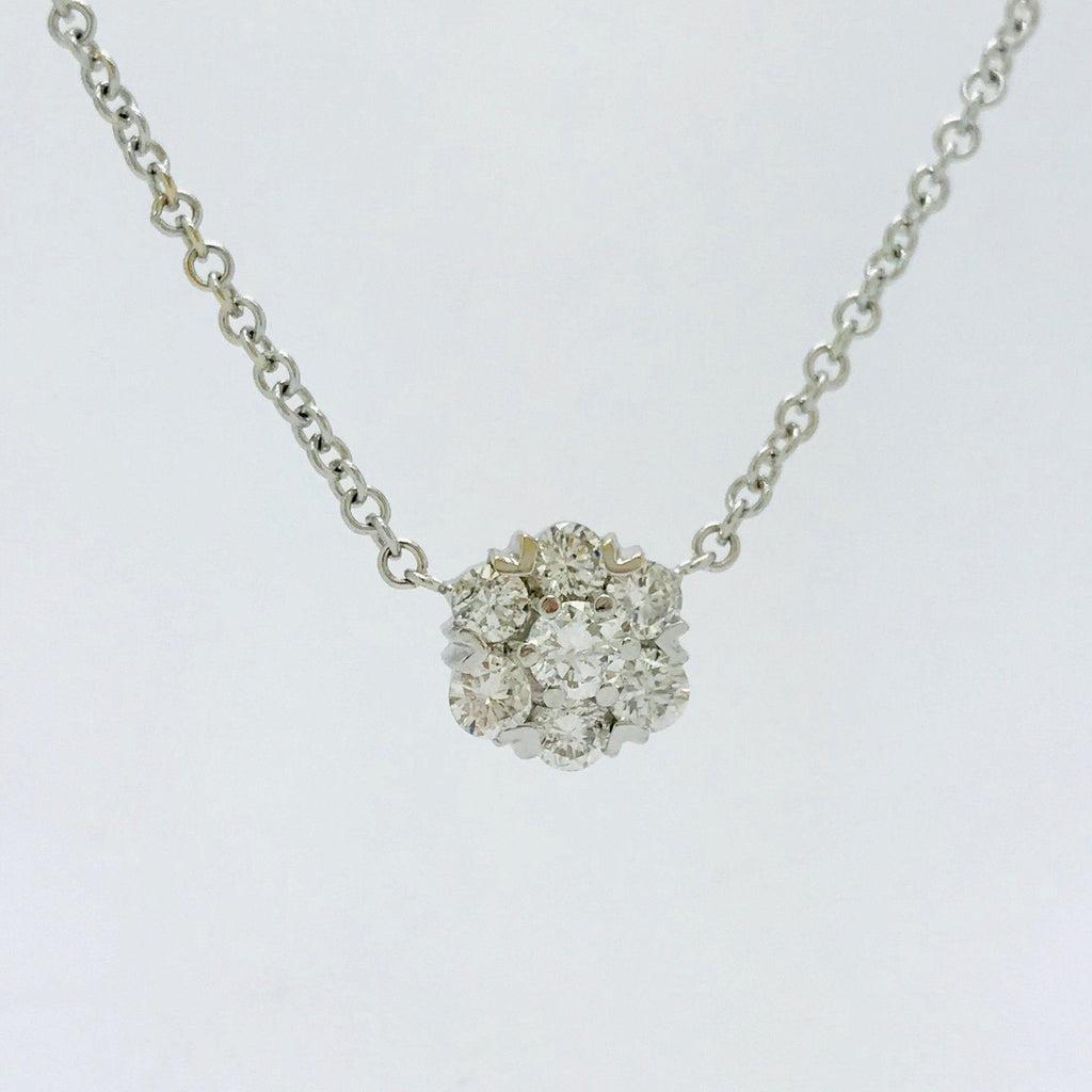 Cluster Diamond Necklace - Necklaces