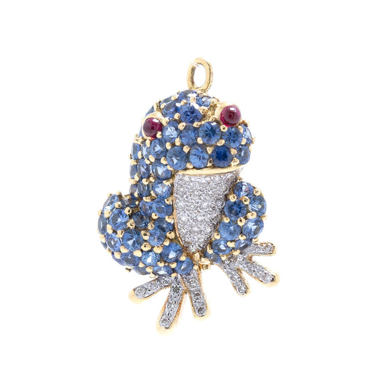 Coloured Stone & Diamond Frog Brooch/Pendant Brooches & Pins Miscellaneous