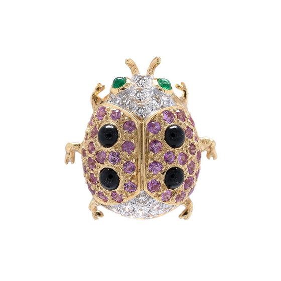 Coloured Stone & Diamond Ladybug Brooch Brooches & Pins Miscellaneous