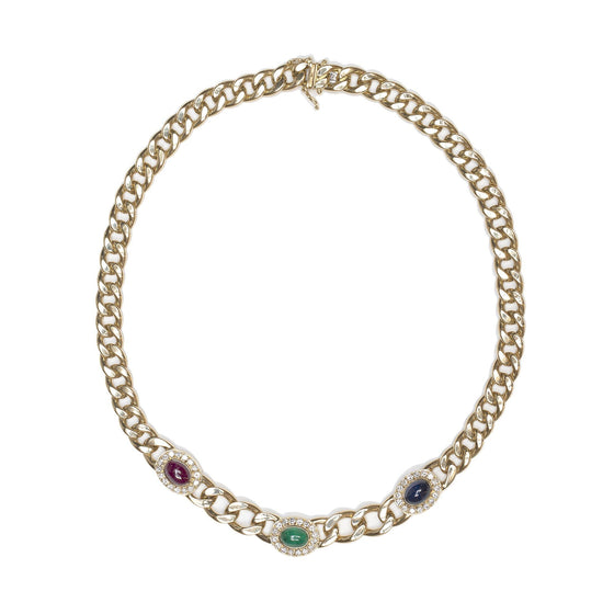 Coloured Stone & Diamond Link Necklace Necklaces Miscellaneous