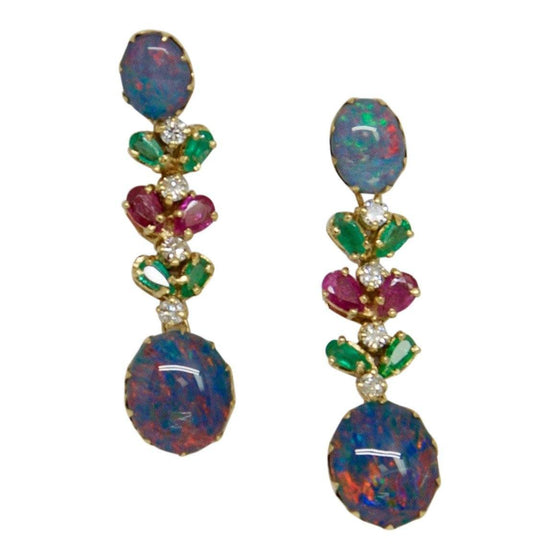 Coloured Stones and Diamond Drop Earrings Earrings Miscellaneous