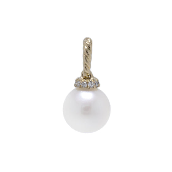 David Yurman 18k Gold Pearl and Diamond Solari Pendant Charms & Pendants David Yurman