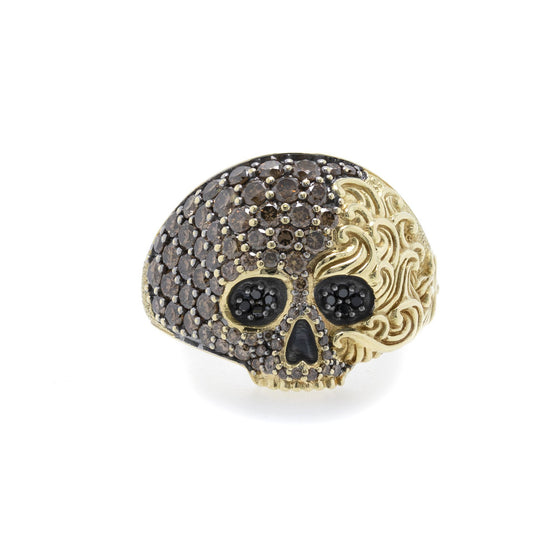 David Yurman 18k Gold Waves Skull Ring w/ Pave Cognac and Black Diamonds Rings David Yurman