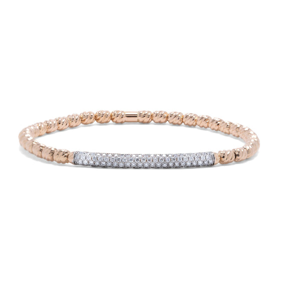 David Yurman 18k Rose Gold Petite Pave Diamond Bracelet Bracelets David Yurman