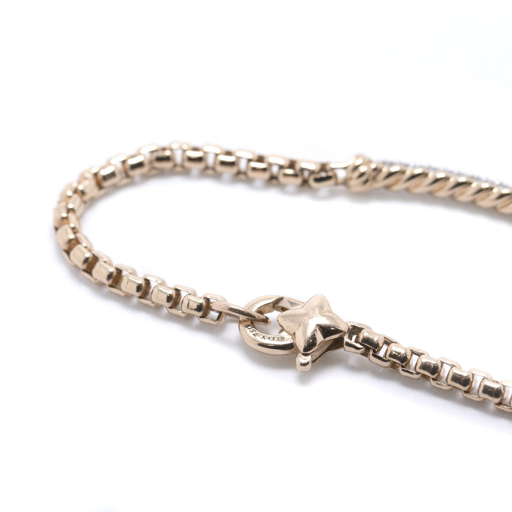 David Yurman 18k Rose Gold Petite Pave Metro Bracelet with Diamonds Bracelets David Yurman