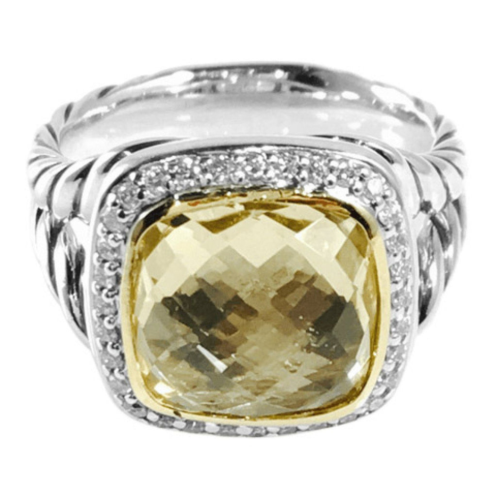 David Yurman Albion Ring With Champagne Citrine And Diamonds - Rings