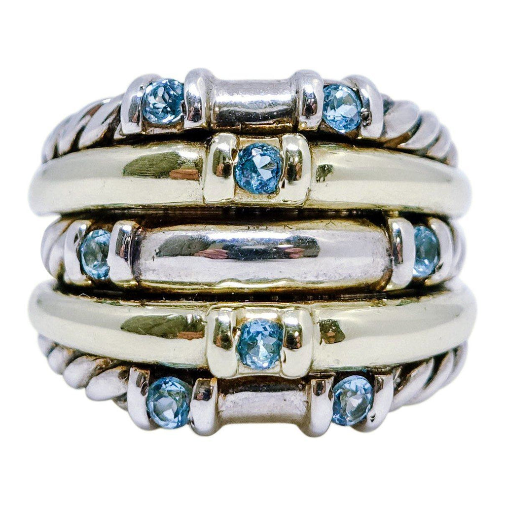 David Yurman Blue Topaz 5-Row Metro Cable Band Ring Rings David Yurman