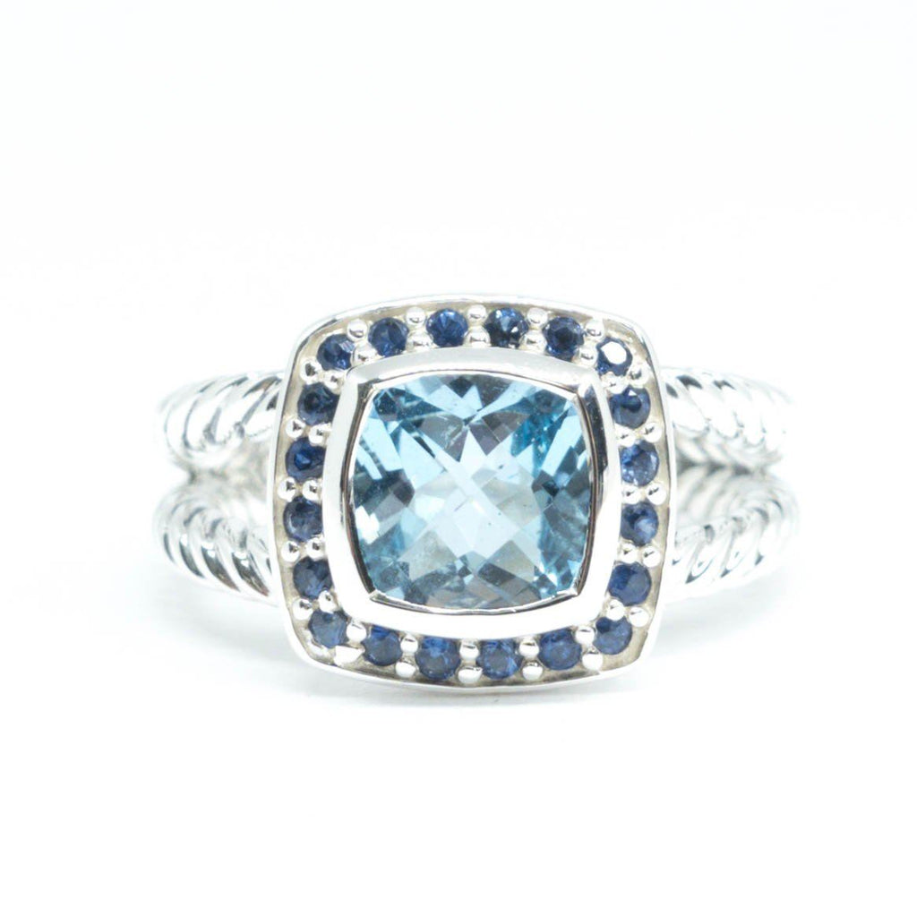 David Yurman Blue Topaz And Sapphire Albion Ring - Rings