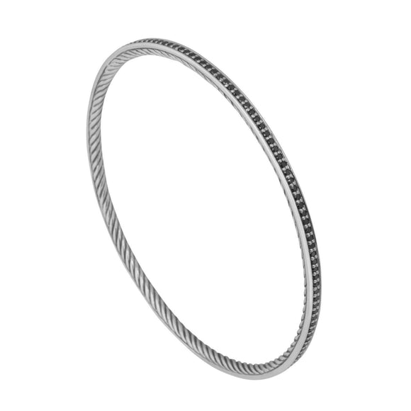 David Yurman Cable Classics Black Diamond Bangle - Bracelets
