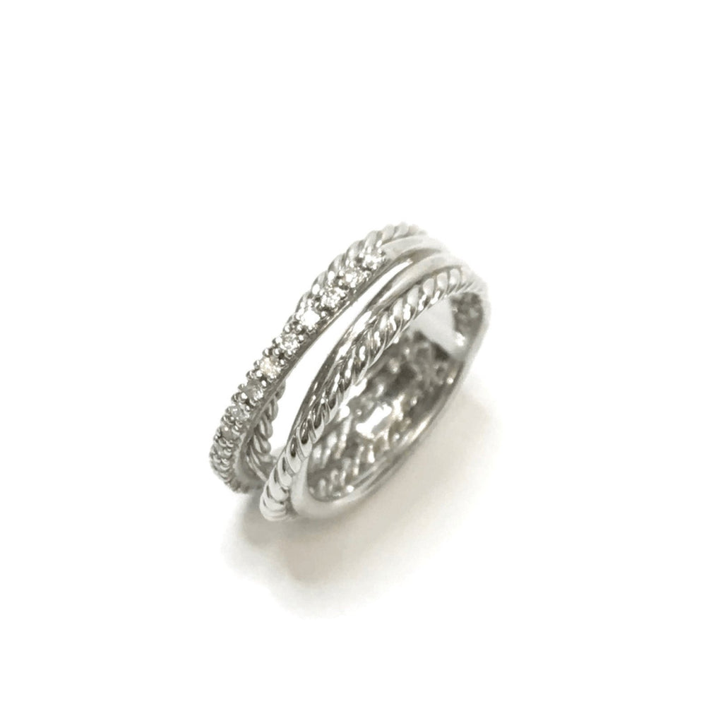 David Yurman Crossover Ring with Diamonds Rings David Yurman