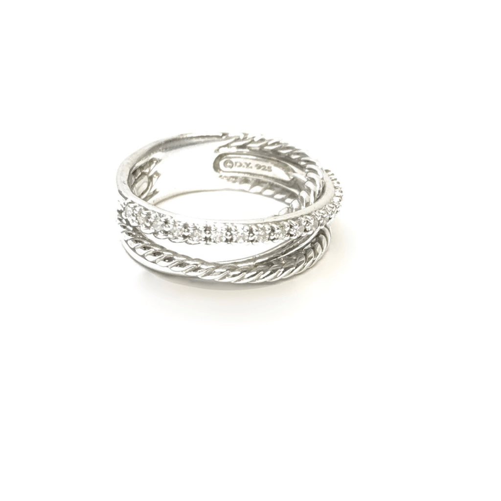 David Yurman Crossover Ring With Diamonds - Rings