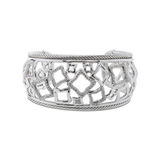 David Yurman Diamond Quatrefoil Wide Cuff Bracelet Bracelets David Yurman