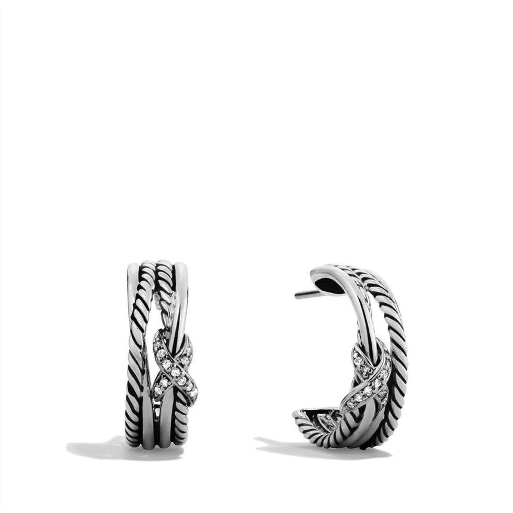 David Yurman Diamond X Crossover Hoop Earrings Earrings David Yurman