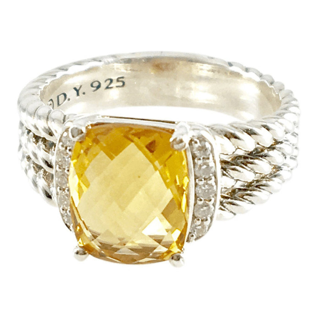 David Yurman Lemon Citrine and Diamond Petite Wheaton Ring Rings David Yurman