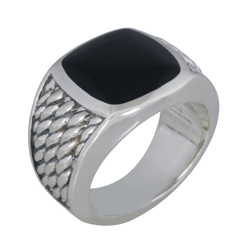 David Yurman Mens Onyx Maritime Rope Signet Ring - Mens Jewellery