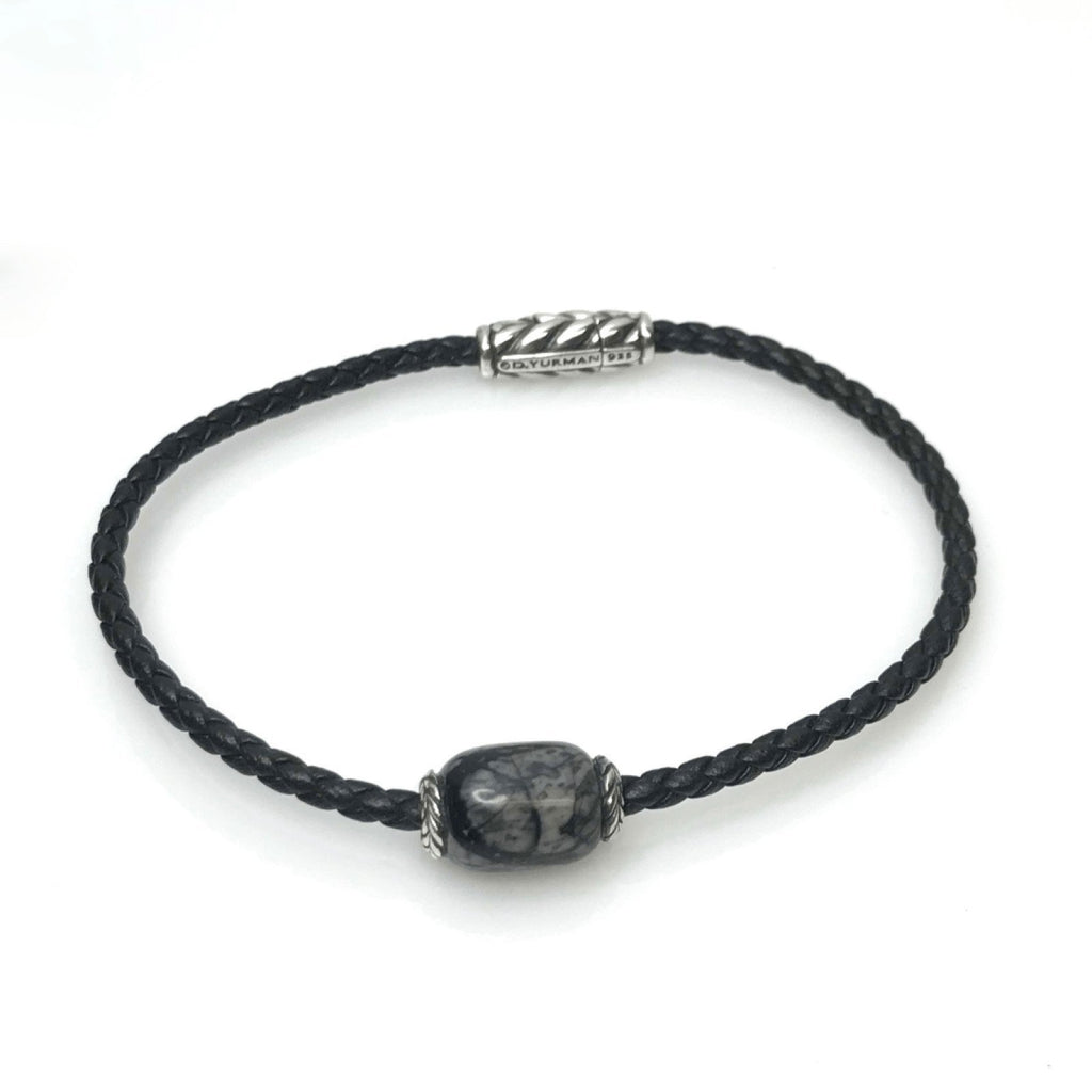 David Yurman Ojime Black Braided Leather Bracelet Bracelets David Yurman