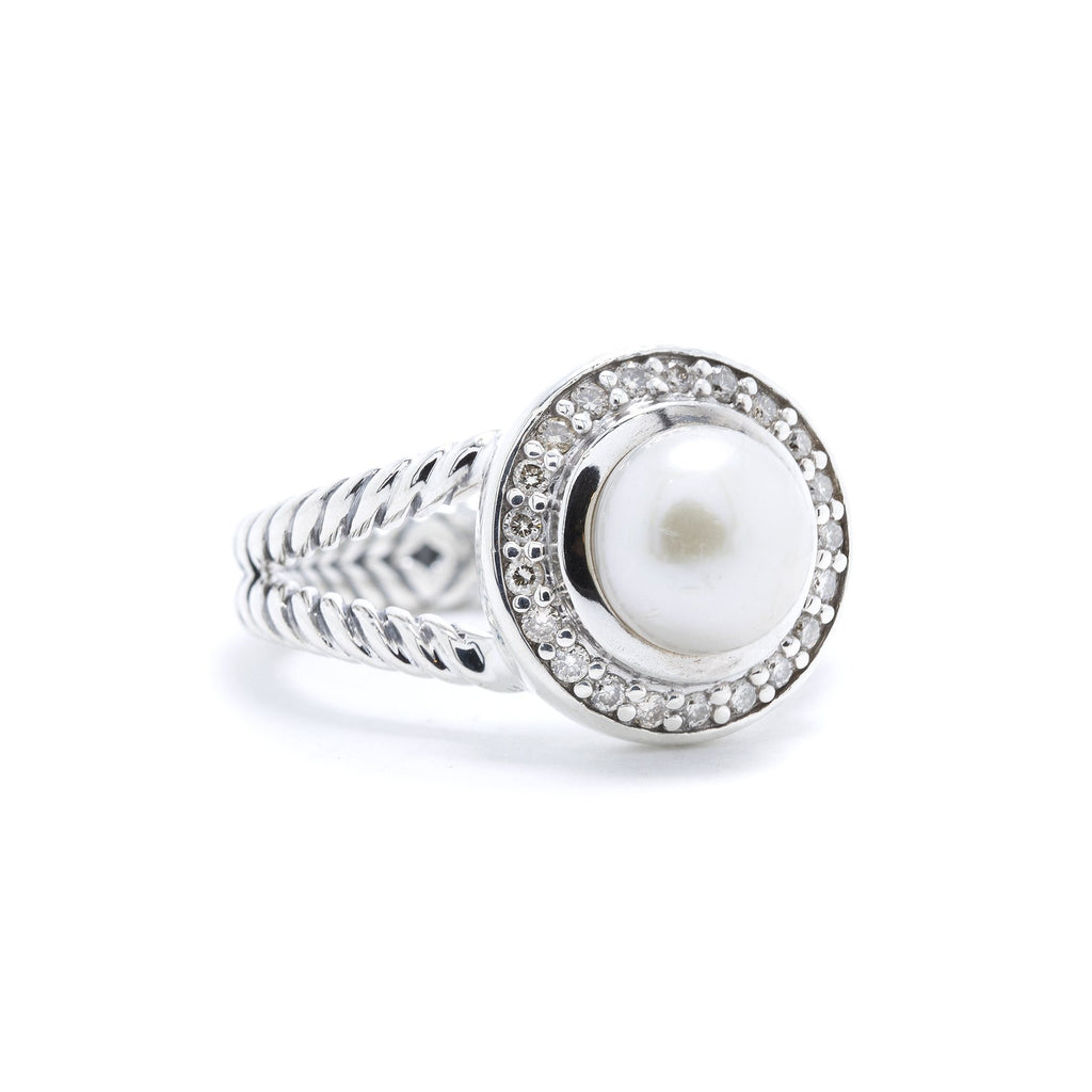 David Yurman Pearl Ring with Diamonds Rings David Yurman