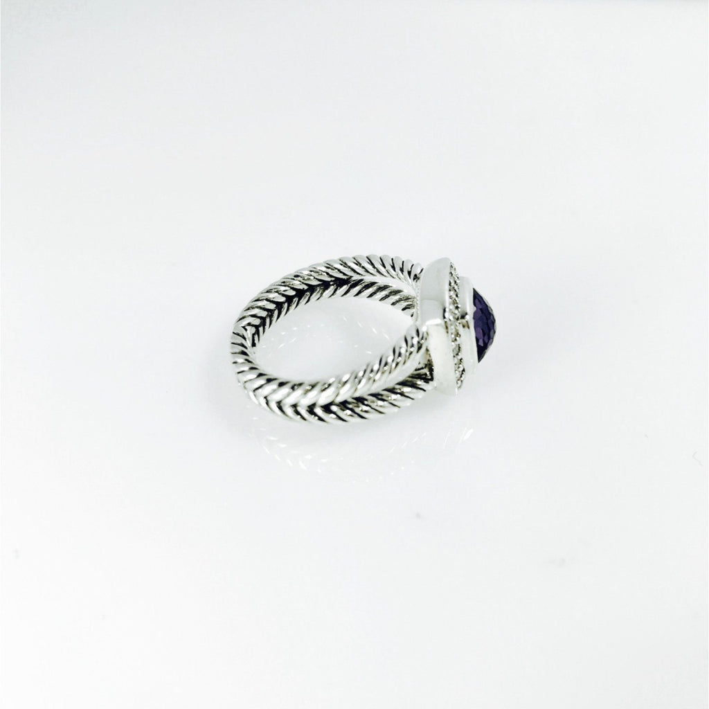 David Yurman Petite Albion Ring With Black Orchid And Diamonds - Rings