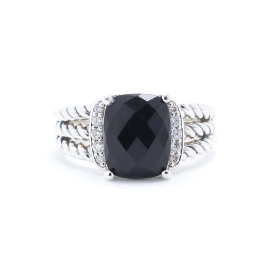 David Yurman Petite Wheaton Ring with Black Onyx and Diamonds Rings David Yurman
