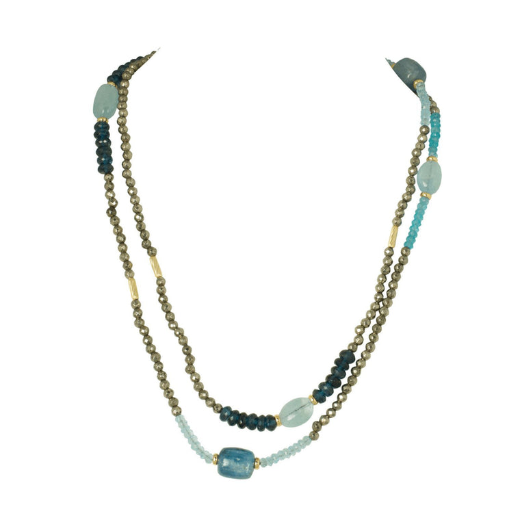 David Yurman Signature Blue Topaz and Tourmaline Bead Necklace Necklaces David Yurman
