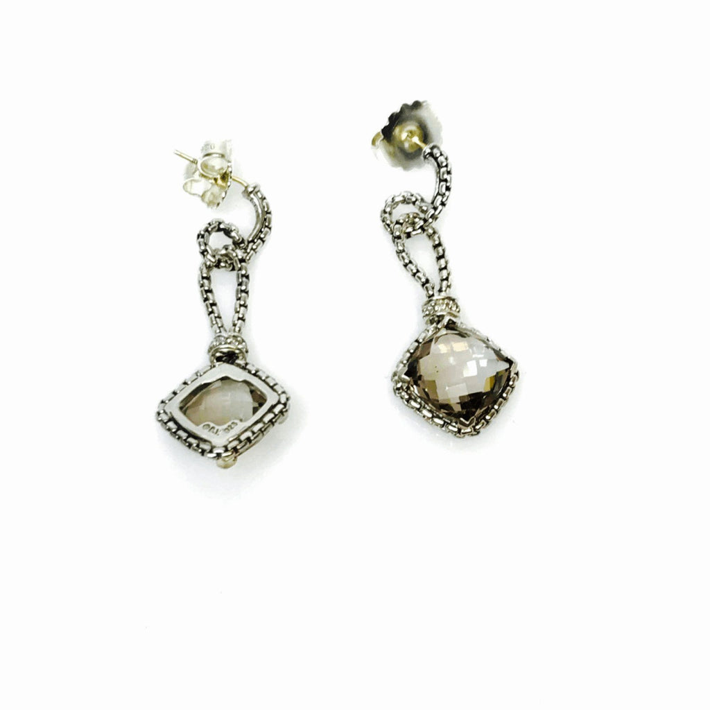 David Yurman Smoky Quartz And Diamond Cushion Chain Earrings - Earrings