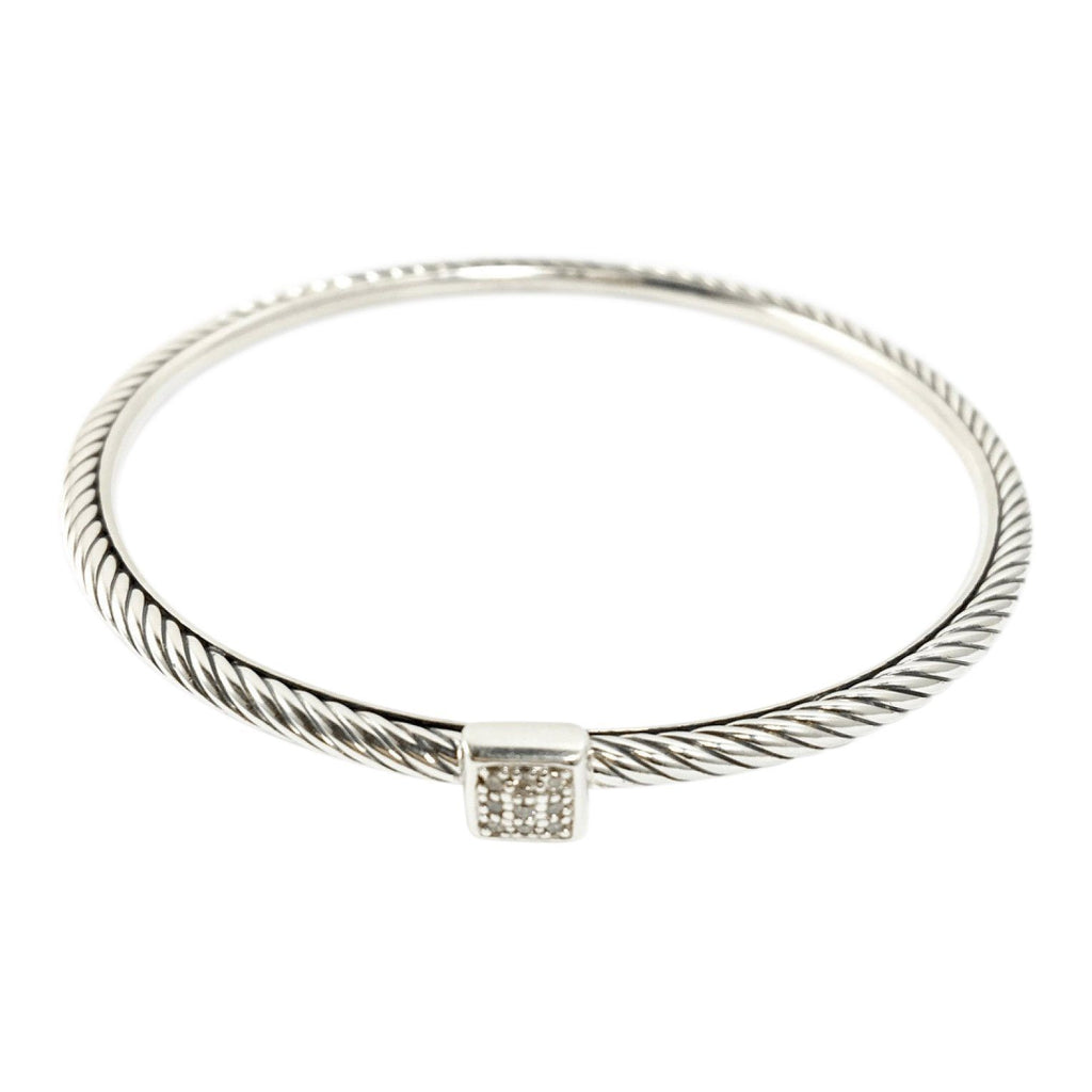 David Yurman Square Diamond Station Cable Bangle Bracelets David Yurman