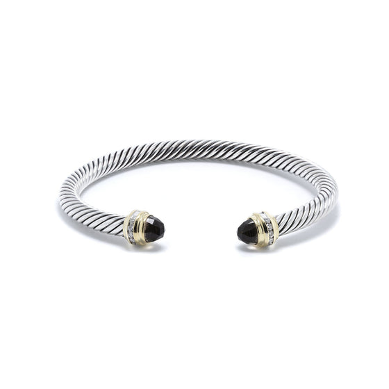 David Yurman Two-Tone Cable Classics Bracelet with Smoky Quartz & Diamonds Bracelets David Yurman