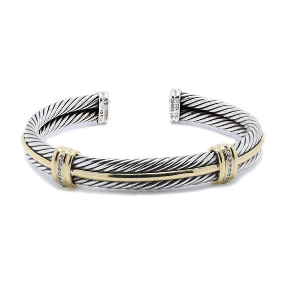 David Yurman Two-Tone Double Cable Cuff Bracelet with Diamonds Bracelets David Yurman