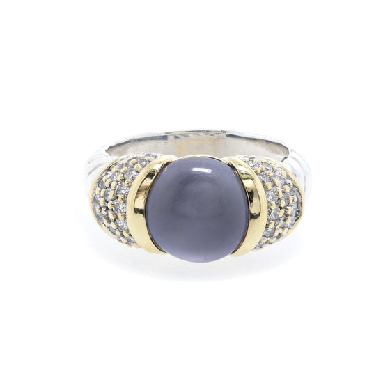 David Yurman Two-Tone Dyed Chalcedony and Diamond Cocktail Ring Rings David Yurman