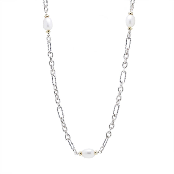 David Yurman Two-Tone Pearl Figaro Station Necklace Necklaces David Yurman
