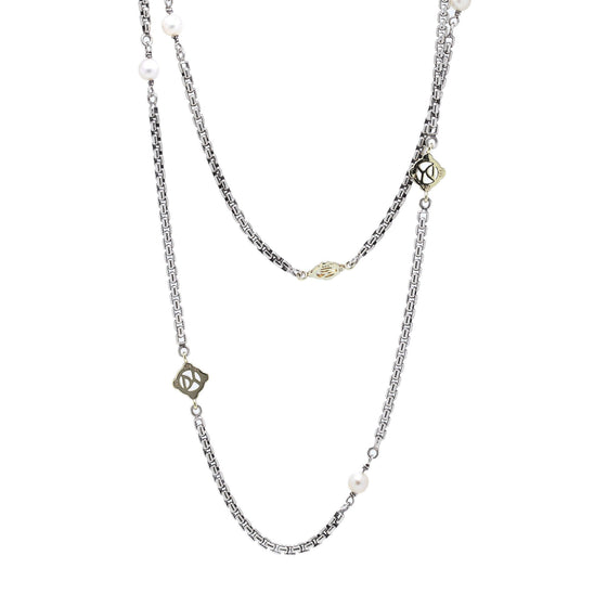 David Yurman Two-Tone Pearl Logo Station Necklace Necklaces David Yurman