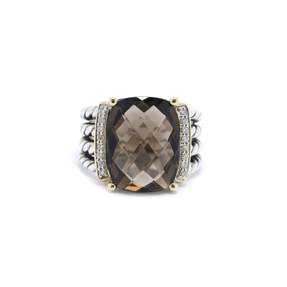 David Yurman Two-Tone Smoky Quartz and Diamond Wheaton Ring Rings David Yurman