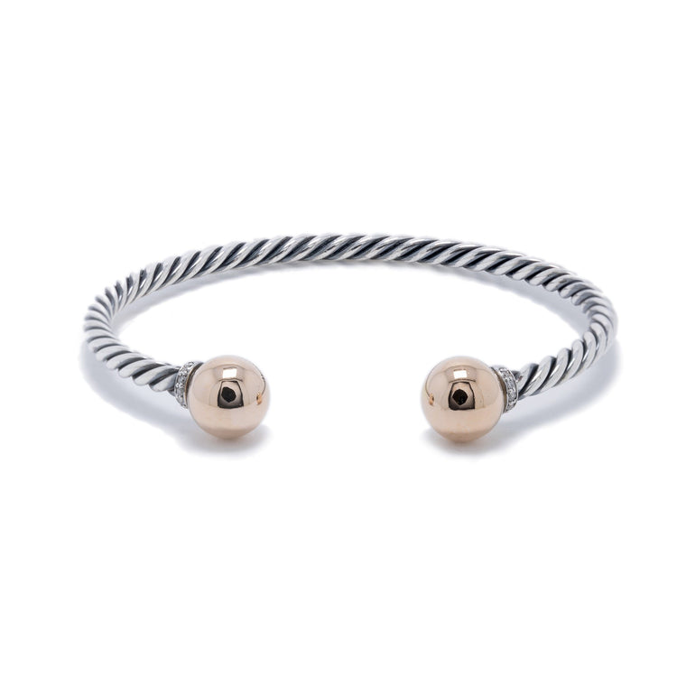 David Yurman Two-Tone Solari Bracelet with Diamonds Bracelets David Yurman