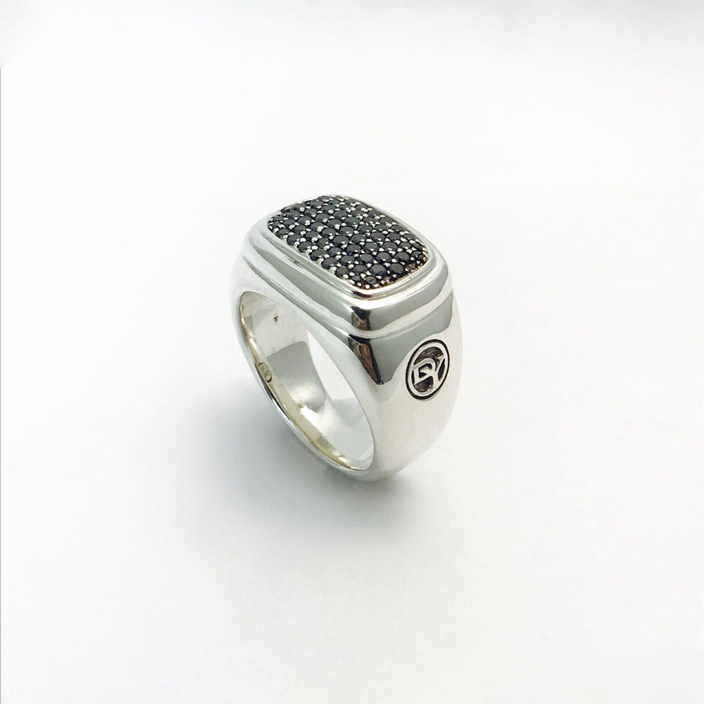 David Yurman Wide Diamonds Signet Ring In Sterling Silver - Rings