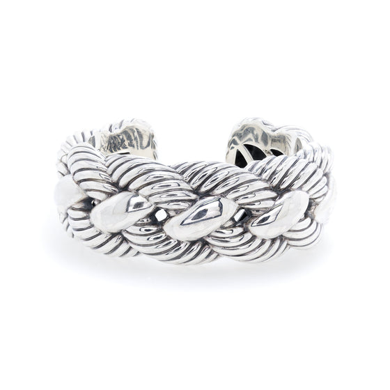 David Yurman Woven Cable Wide Cuff Bracelet Oliver Jewellery