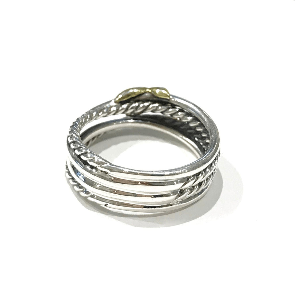 David Yurman X Crossover Ring In Sterling Silver And 18K Yellow Gold - Rings
