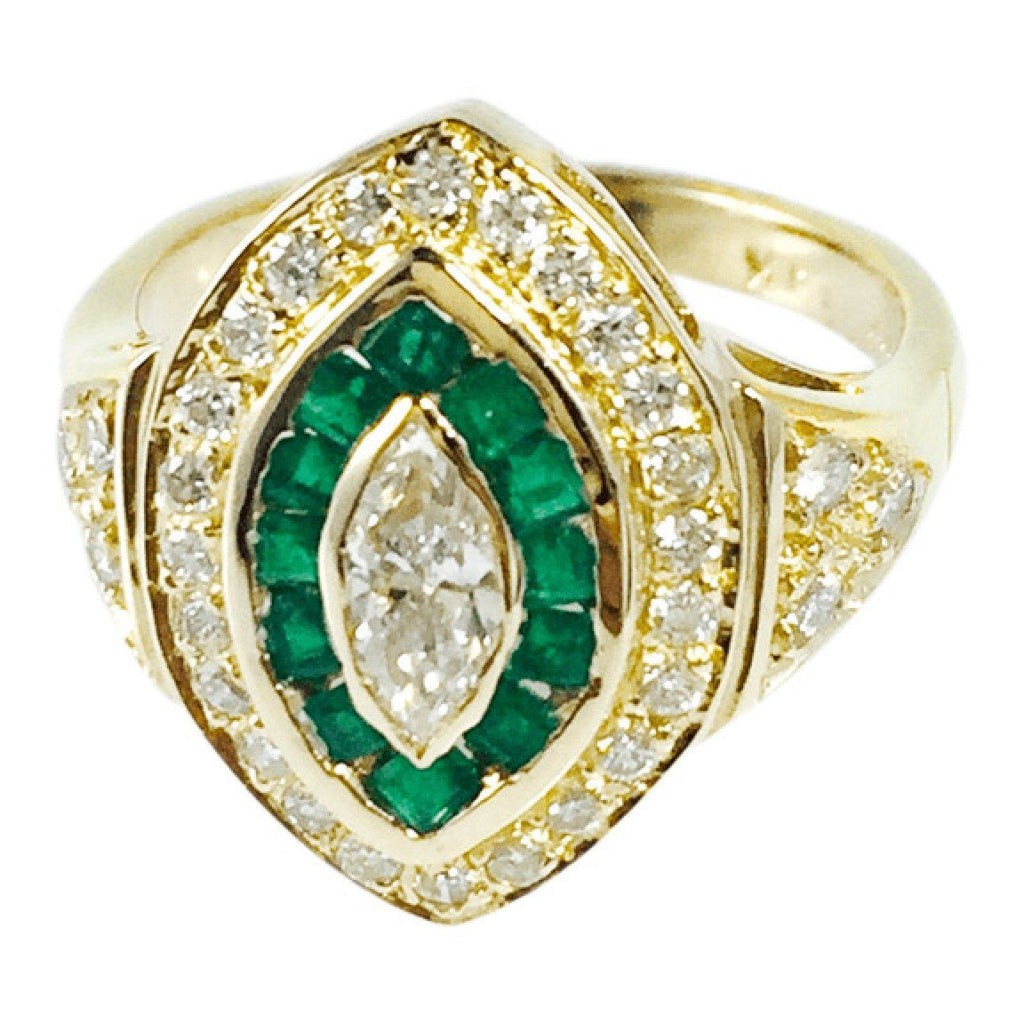 Diamond and Emerald Ring Rings Miscellaneous