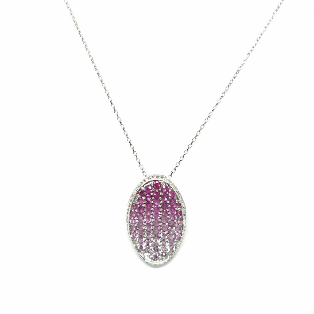 Diamond And Pink Sapphire Pendant In 14 Karat White Gold - Necklaces