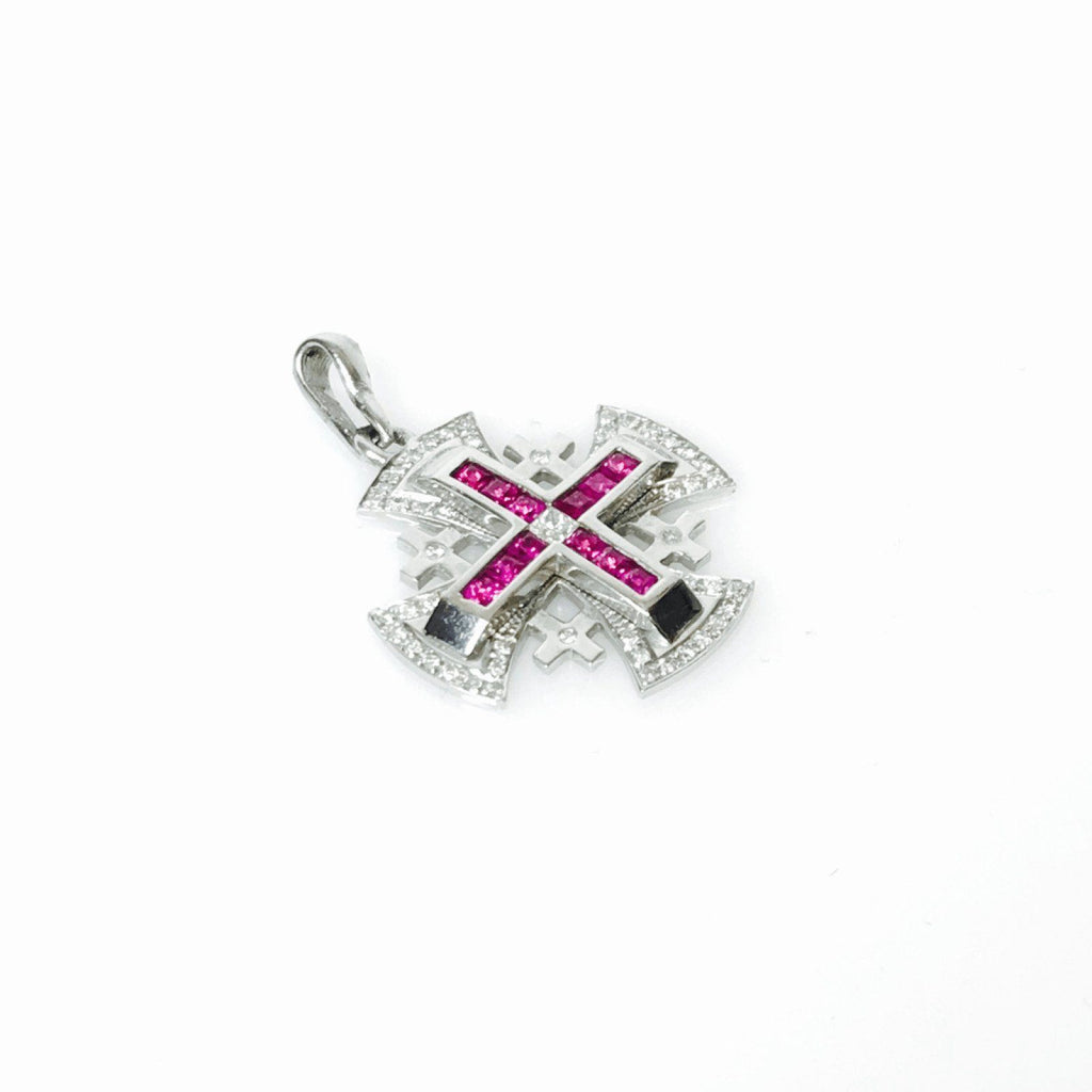 Diamond and Ruby Cross Pendant Charms & Pendants Miscellaneous