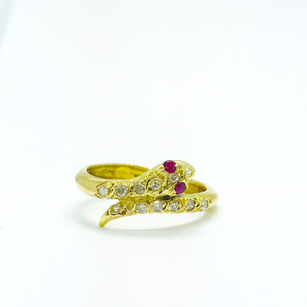 Diamond and Ruby Snake Ring Rings Miscellaneous