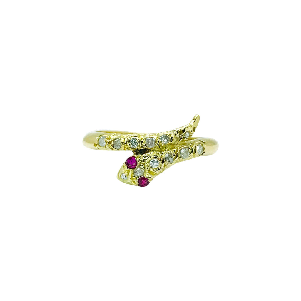 Diamond And Ruby Snake Ring - Rings
