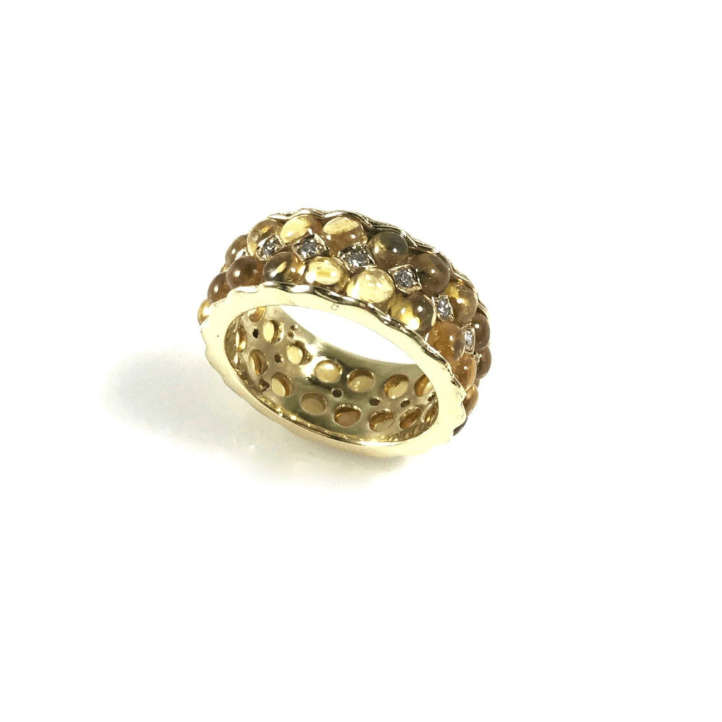 Diamond And Yellow Sapphire Band - Rings