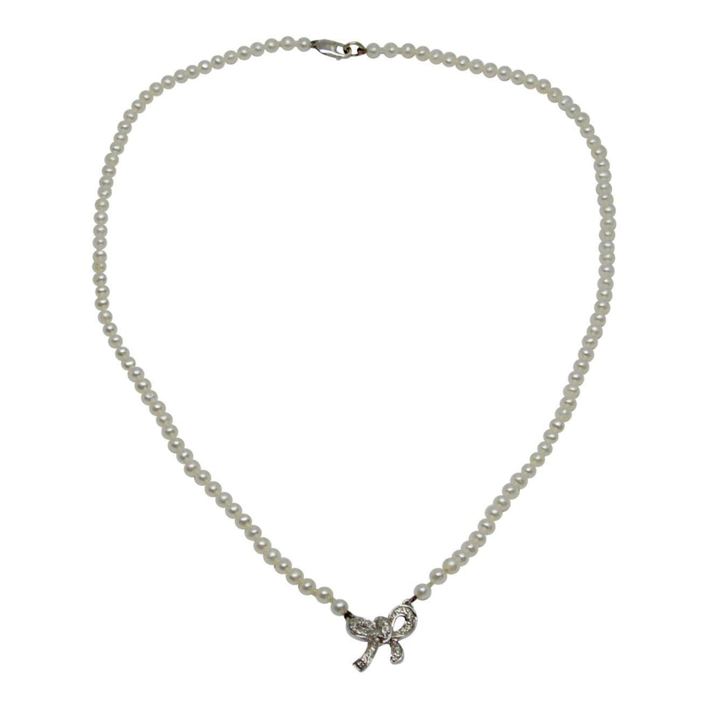 Diamond Bow Pendant Pearl Necklace Necklaces Miscellaneous