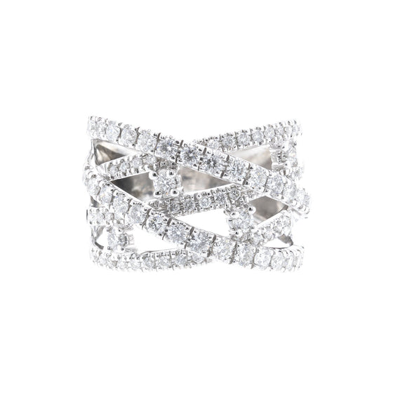 Diamond Crossover Ring Rings Miscellaneous