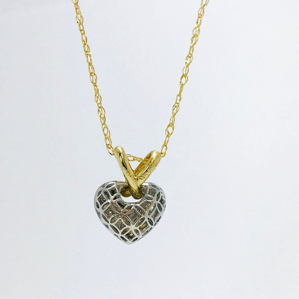 Diamond Heart Pendant In 14Kt Yellow And White Gold - Charms & Pendants