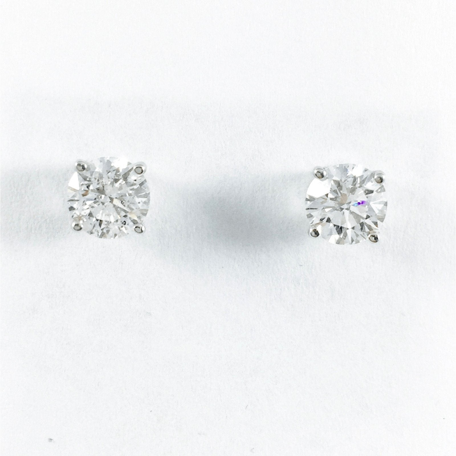 diamond round earrings mainwh stud bezel solitaire gold