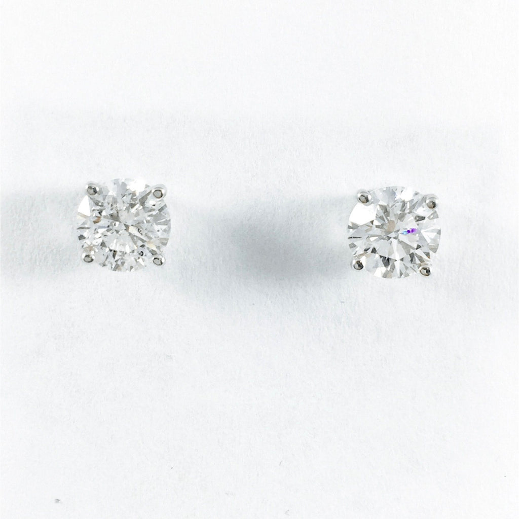 Diamond Solitaire Stud Earrings - Earrings