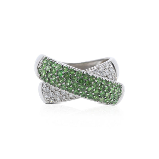 Diamond & Tsavorite Cross Over Cocktail Ring Rings Miscellaneous